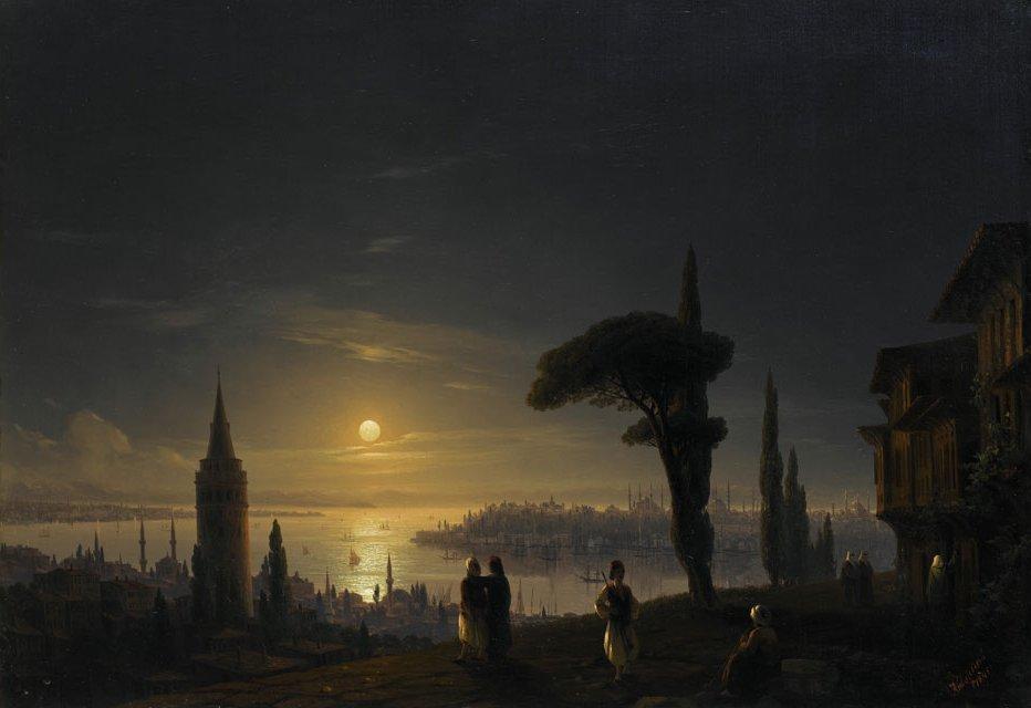 Иван Айвазовский. Галатская башня в лунную ночь. 1845 год.